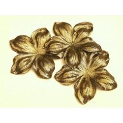 3 grandes fleurs en satin de soie lamé or à pois 11,8 cm pour bijoux mariage, scrapbooking, carterie, couture