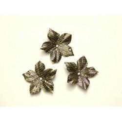 3 fleurs en satin lamé or à pois pour bijoux mariage, scrapbooking, carterie, couture