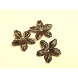 3 fleurs en satin de soie lamé or à pois pour bijoux mariage, scrapbooking, carterie, couture