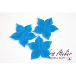 3 fleurs en satin de soie bleu turquoise pour bijoux mariage, scrapbooking, carterie, couture