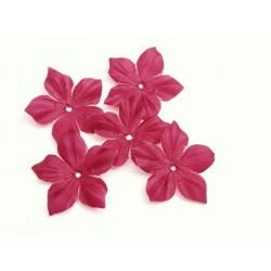 3 fleurs en pongé de soie bordeaux pour bijoux mariage, scrapbooking, carterie, couture
