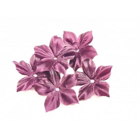 1 Fleur en satin de soie prune pour bijoux mariage, scrapbooking, carterie, couture