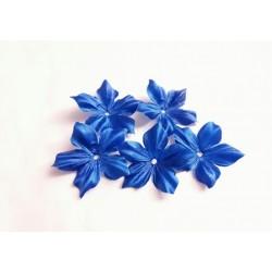 3 Fleurs en satin de soie bleu roi pour bijoux mariage, scrapbooking, carterie, couture
