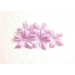 3 fleurs en satin de soie parme pour bijoux mariage, scrapbooking, carterie, couture