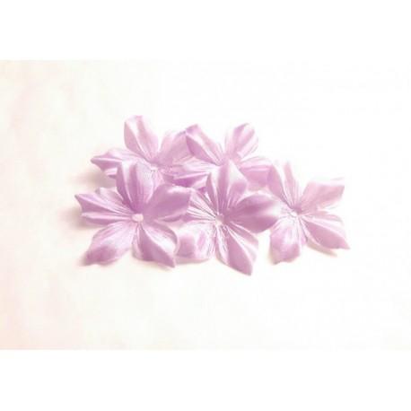 1 Fleur en satin de soie parme pour bijoux mariage, scrapbooking, carterie, couture