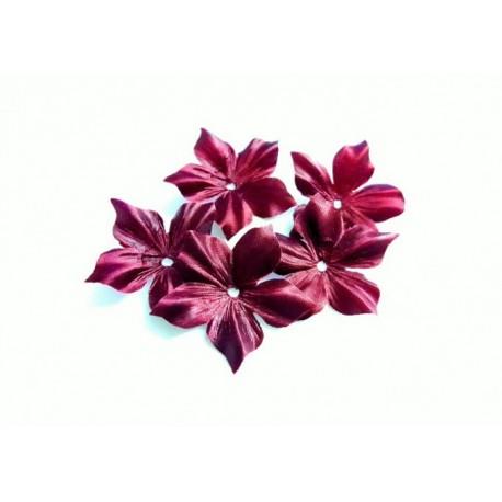 3 fleurs en satin de soie bordeaux pour bijoux mariage, scrapbooking, carterie, couture