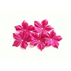 1 Fleur en satin de soie rose fuchsia pour bijoux mariage, scrapbooking, carterie, couture