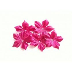 3 fleurs en satin de soie rose fuchsia pour bijoux mariage, scrapbooking, carterie, couture