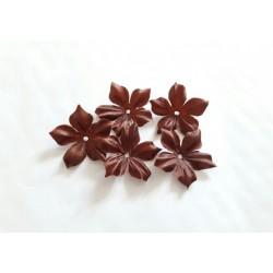 3 fleurs en satin de soie marron chocolat pour bijoux mariage, scrapbooking, carterie, couture
