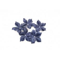 3 fleurs en satin de soie bleu marine pour bijoux mariage, scrapbooking, carterie, couture
