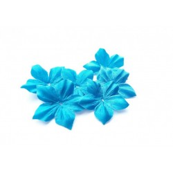 3 fleurs en satin de soie turquoise pour bijoux mariage, scrapbooking, carterie, couture