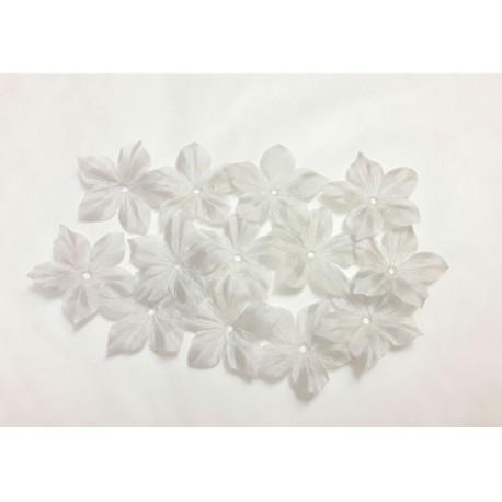 3 fleurs en pongé de soie gris perle pour bijoux mariage, scrapbooking, carterie, couture