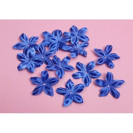 1 Fleur en satin de soie bleu roi pour bijoux mariage, scrapbooking, carterie, couture