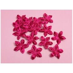 1 Fleur en satin de soie fuchsia pour bijoux mariage, scrapbooking, carterie, couture