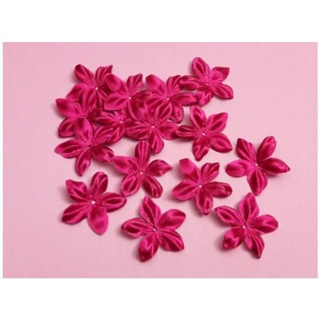 3 fleurs en satin de soie fuchsia pour bijoux mariage, scrapbooking, carterie, couture