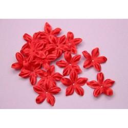 3 fleurs en satin de soie rouge pour bijoux mariage, scrapbooking, carterie, couture
