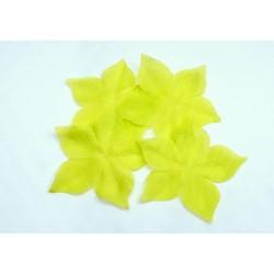 3 fleurs en pongé de soie vert jaune anis pour bijoux mariage, scrapbooking, carterie, couture