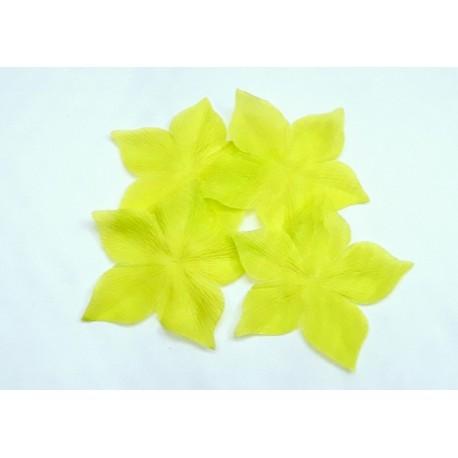 1 Fleur en pongé de soie vert jaune anis pour bijoux mariage, scrapbooking, carterie, couture
