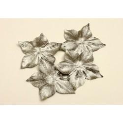 3 fleurs en satin de soie lamé or pour bijoux mariage, scrapbooking, carterie, couture