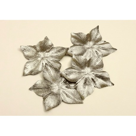 1 Fleur en satin de soie lamé or pour bijoux mariage, scrapbooking, carterie, couture