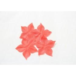 3 fleurs en carré de soie corail pour bijoux mariage, scrapbooking, carterie, couture