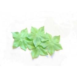 3 fleurs en satin de soie vert anis pour bijoux mariage, scrapbooking, carterie, couture