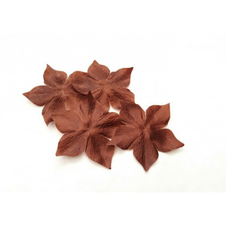 Lot de 3 fleurs en satin de soie marron chocolat pour bijoux mariage, scrapbooking, carterie, couture