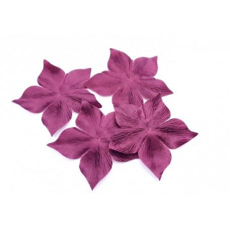 Lot de 3 fleurs en satin de soie bordeaux pour bijoux mariage, scrapbooking, carterie, couture