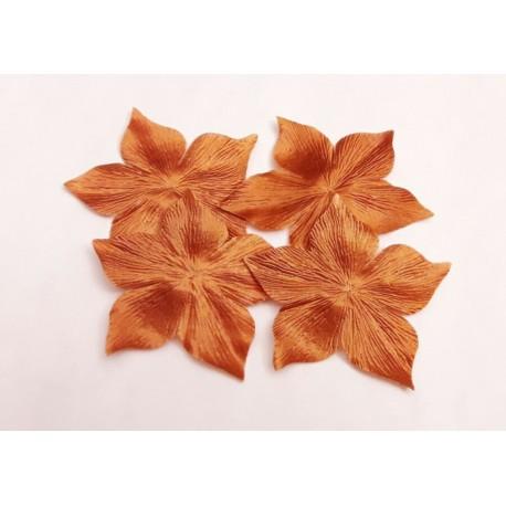 3 fleurs en satin de soie mordorée pour bijoux mariage, scrapbooking, carterie, couture