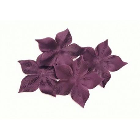 3 fleurs en satin de soie prune pour bijoux mariage, scrapbooking, carterie, couture