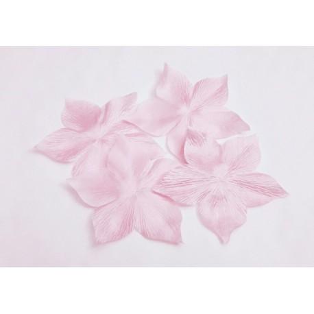 3 fleurs en satin de soie rose clair pour bijoux mariage, scrapbooking, carterie, couture