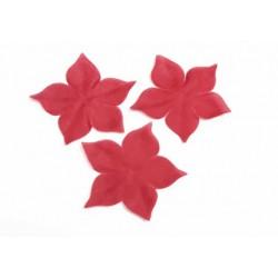 3 fleurs en pongé de soie rouge bordeaux pour bijoux mariage, scrapbooking, carterie, couture