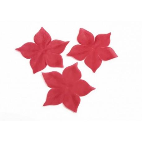1 Fleur en pongé de soie rouge bordeaux pour bijoux mariage, scrapbooking, carterie, couture