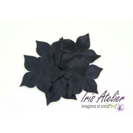 3 fleurs en satin de soie noire pour bijoux mariage, scrapbooking, carterie, couture