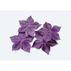 3 fleurs en satin de soie violette pour bijoux mariage, scrapbooking, carterie, couture