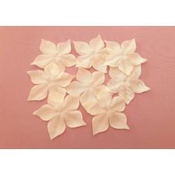1 Fleur en pongé de soie ivoire foncé pour bijoux mariage, scrapbooking, carterie, couture