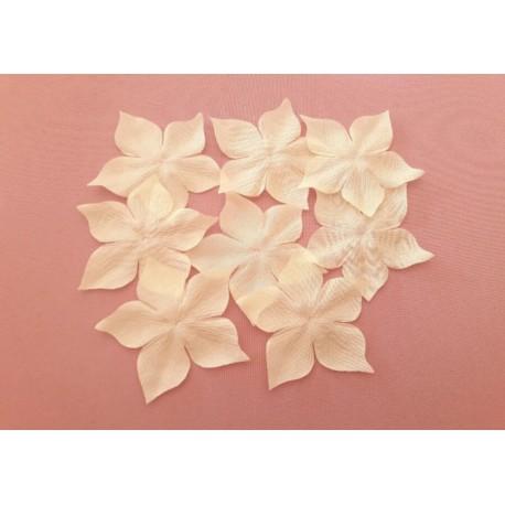 3 fleurs en pongé de soie ivoire foncé pour bijoux mariage, scrapbooking, carterie, couture