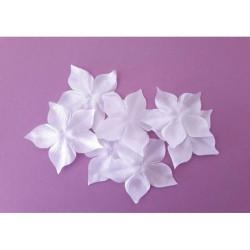 1 Fleur en satin de soie blanche pour bijoux mariage, scrapbooking, carterie, couture