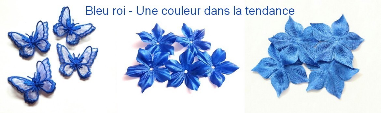 Fleurs en soie mariage et scrapbooking - Bleu roi -Royal blue