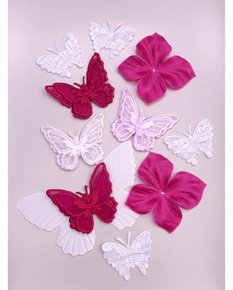 Papillons en soie, en satin, appliques papillons...